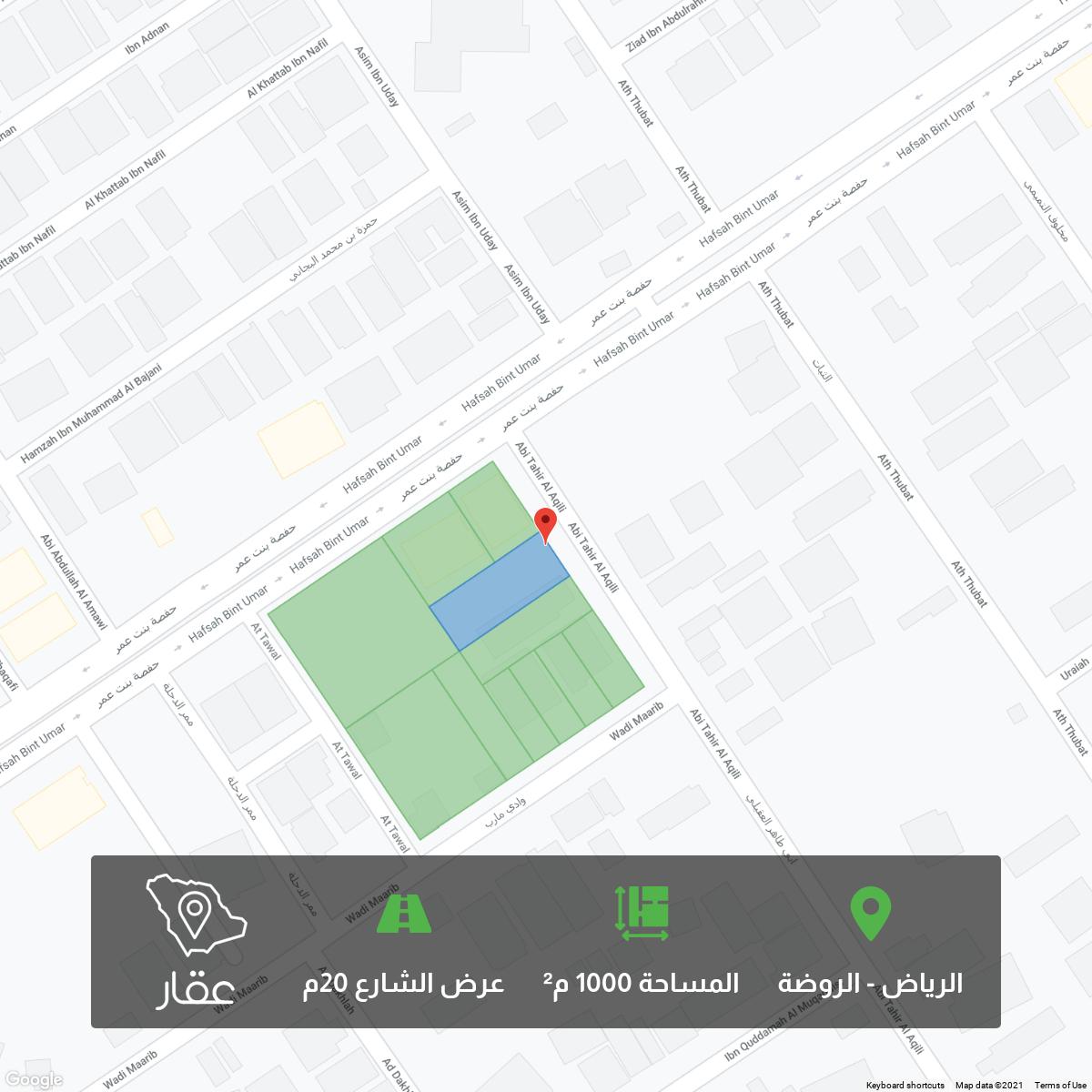 أرض للبيع في شارع ابي طاهر العقيلي ، حي الروضة ، الرياض ، الرياض