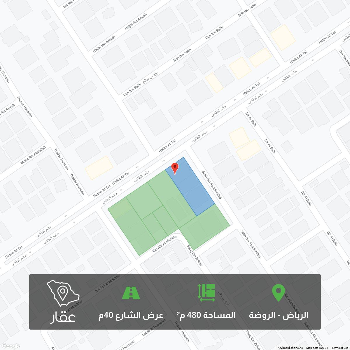 أرض للبيع في شارع حاتم الطائي ، حي الروضة ، الرياض ، الرياض
