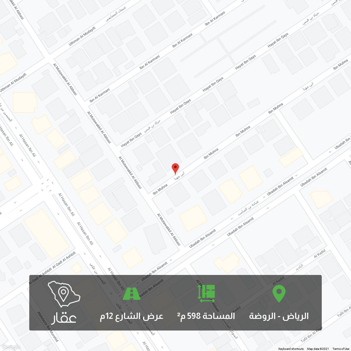 أرض للبيع في شارع ابن مهنا ، حي الروضة ، الرياض ، الرياض