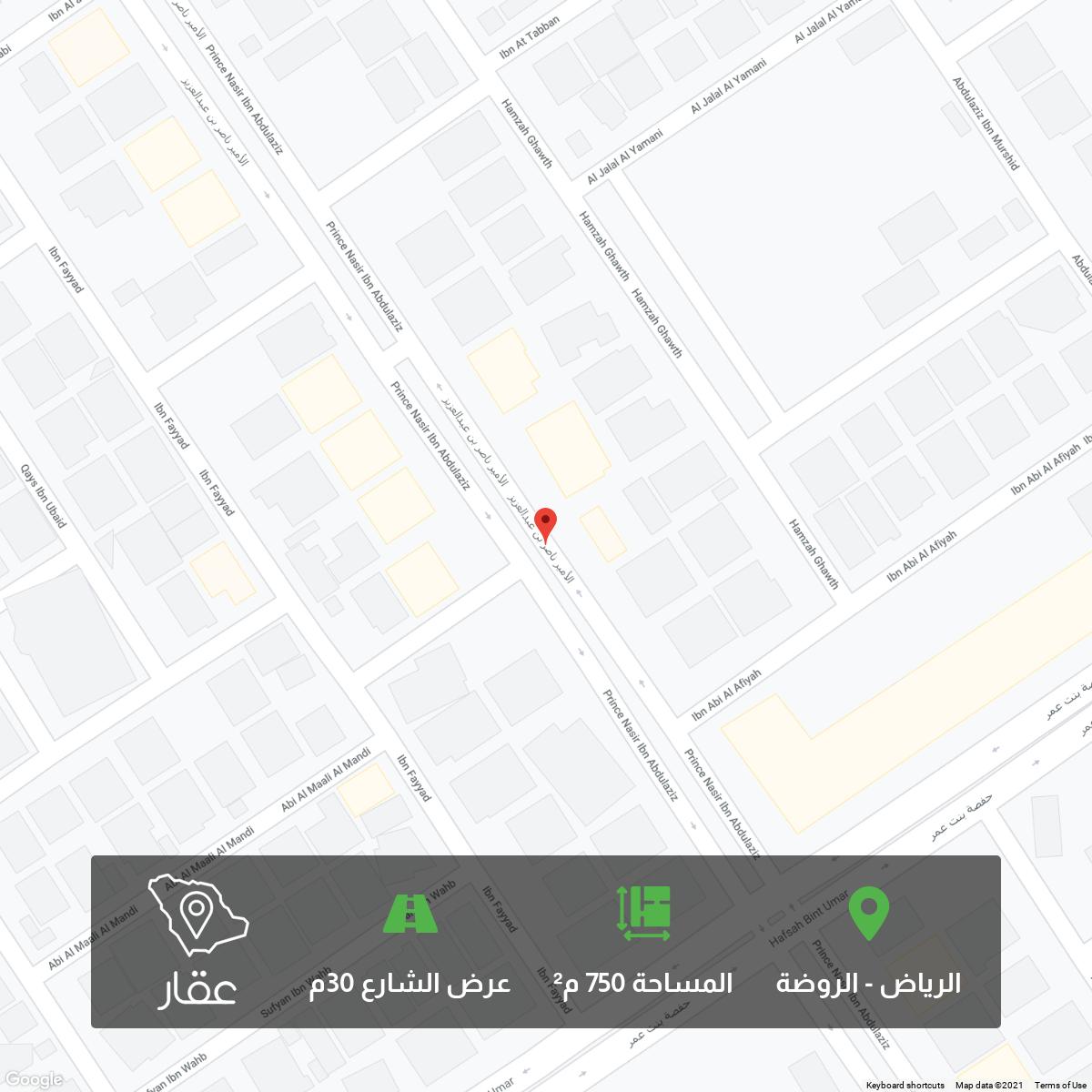 أرض للبيع في شارع الأمير ناصر بن عبدالعزيز ، حي الروضة ، الرياض ، الرياض