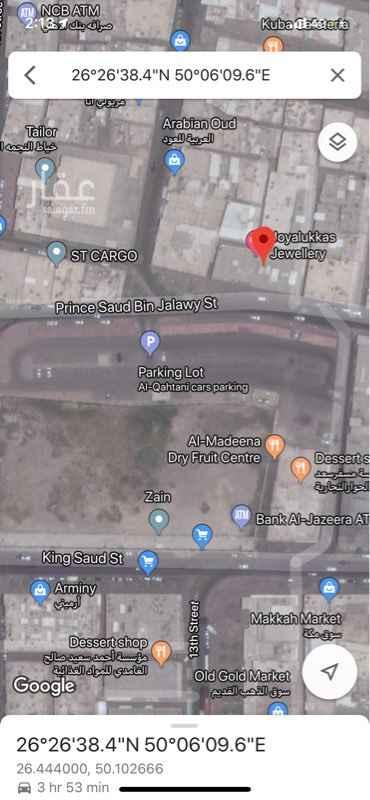 مكتب تجاري للإيجار في شارع الامير سعود بن جلوي ، حي الدواسر ، الدمام