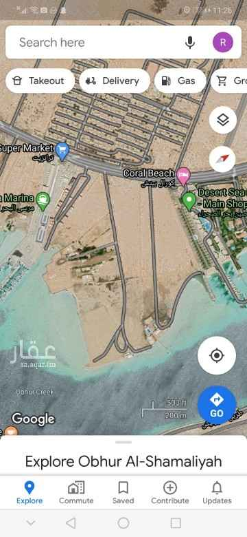 أرض للإيجار في حي ابحر الشمالية ، جدة ، جدة