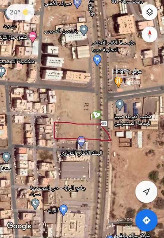أرض للإيجار في طريق الملك عبدالعزيز ، حي الرحاب ، صبيا ، صبياء