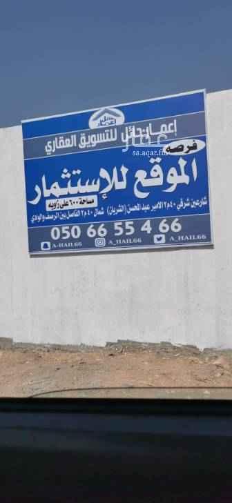 أرض للإيجار في شارع الأمير سعود بن عبدالمحسن آل سعود ، حائل