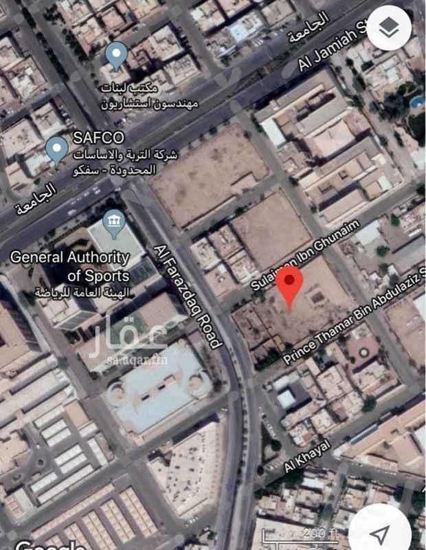 أرض للبيع في شارع الفرزدق ، حي الملز ، الرياض
