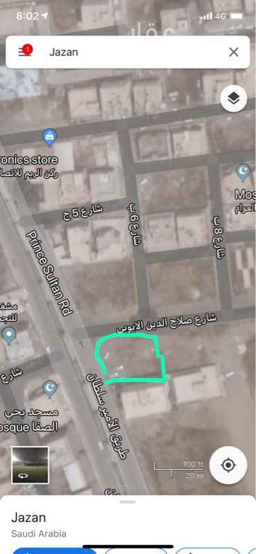 أرض للبيع في طريق الامير سلطان بن عبدالعزيز ، حي الصفا ، جازان