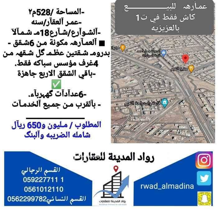 عمارة للبيع في شارع سليم بن مطير ، حي السكة الحديد ، المدينة المنورة ، المدينة المنورة