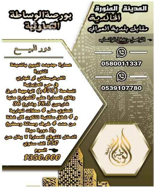 عمارة للبيع في شارع قيس بن الربيع ، حي العزيزية ، المدينة المنورة ، المدينة المنورة