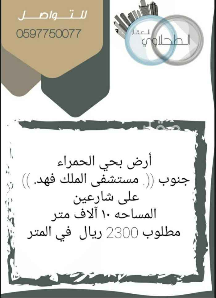 أرض للبيع في طريق المدينة المنورة الفرعي ، حي الحمراء ، جدة ، جدة