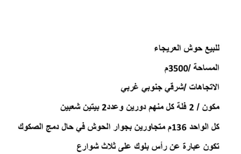 استراحة للبيع في شارع وادي حنيفة ، حي العريجاء ، الرياض ، الرياض